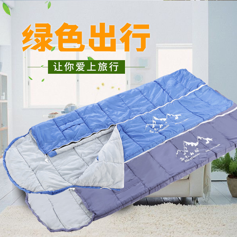 Blue Mountain Adult Indoor Outdoor Camping Warm Thicken Portable Spring and Autumn Style Reaching Boutique Sleeping Bag