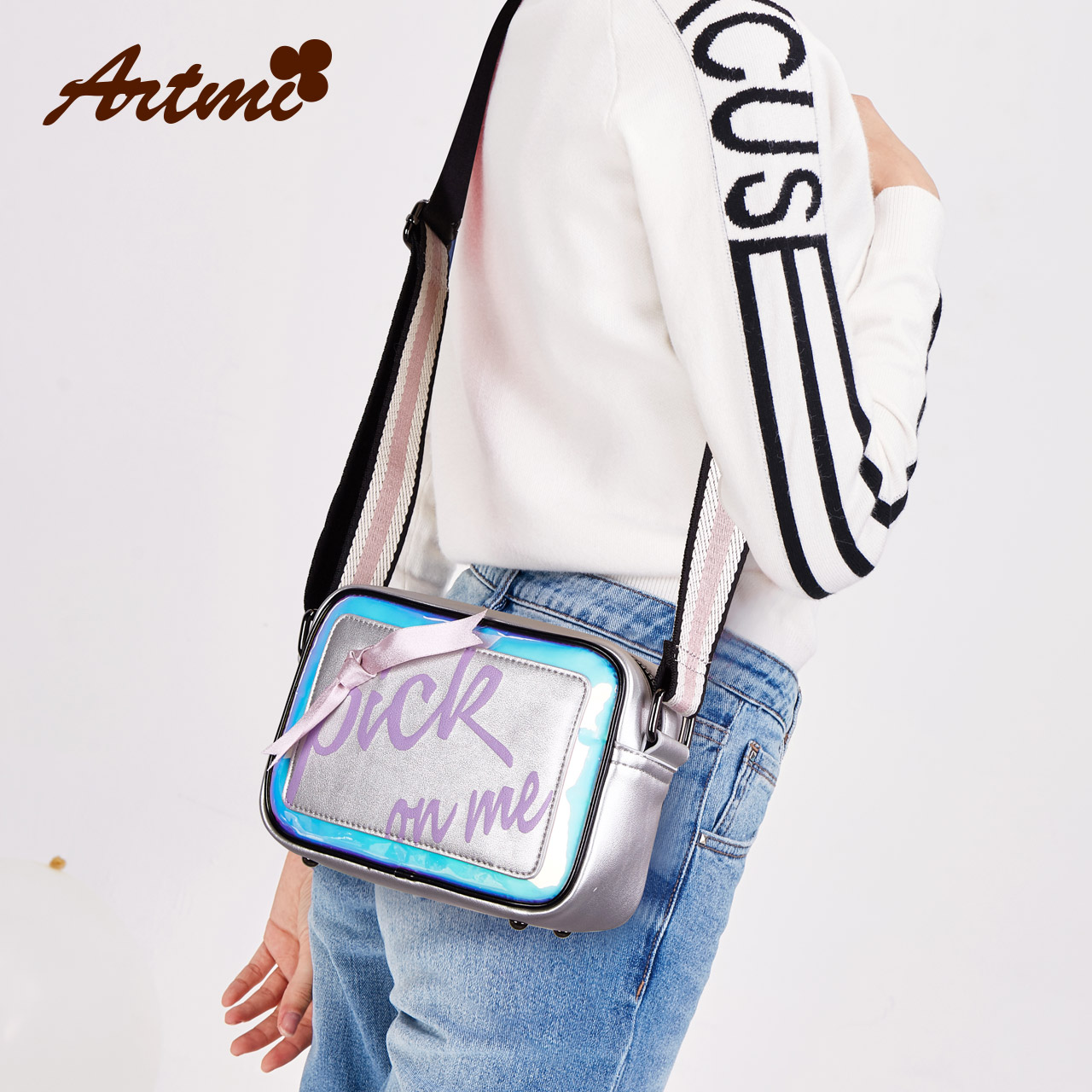 Artmi Atmi small square bag female Messenger bag 2018 new casual personality bag female wide shoulder strap diagonal cross bag