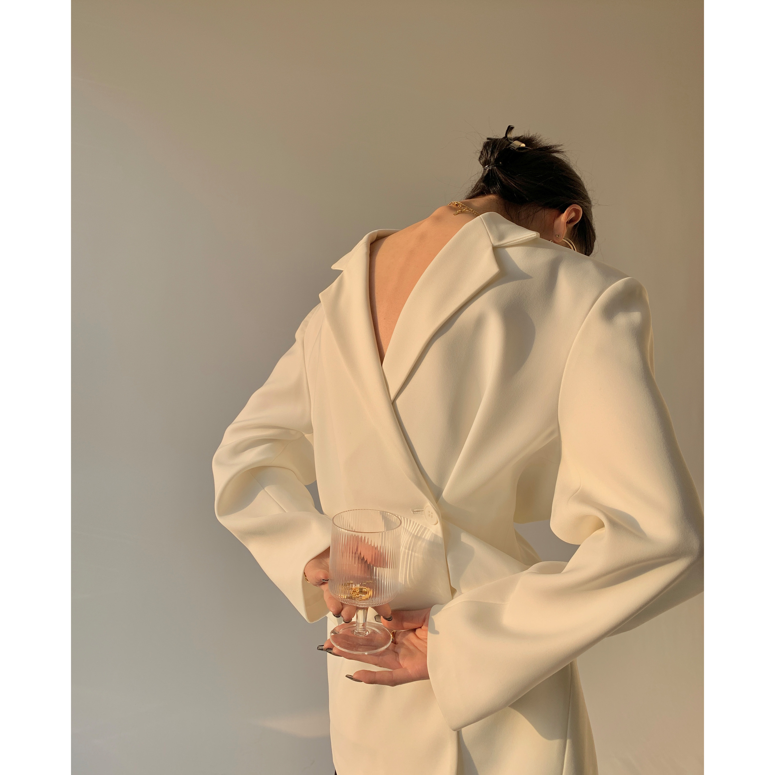 PAPERLLL high-end design sense white suit jacket female spring autumn fried street new temperament casual suit top