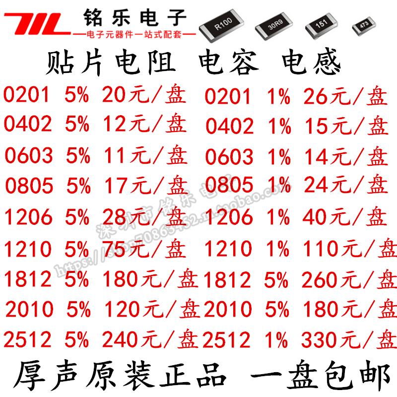 Patch Resistor Capacitor Drain 0402 0603 0805 1206 1210 1812 2010 2512