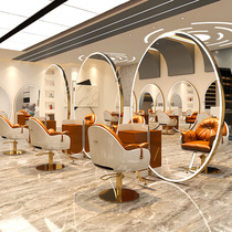 Barbershop single and double-sided mirror Hair salon mirror table Hair salon special stainless steel floor mirror can be hung on the wall hair cut mirror
