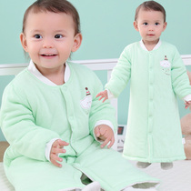 Baby nightgown spring and autumn season Children baby boy cotton thickening pajamas boys and girls long section of cotton bathrobe