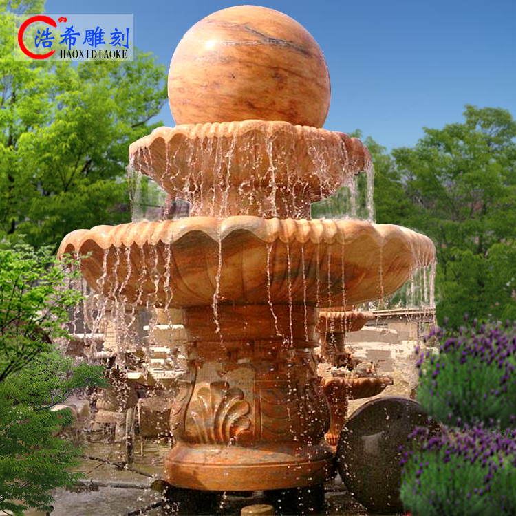 Fake mountain fountain stone carving large-scale European-style 鉢 landscape sculpture set piece fish pond fountain outdoor courtyard