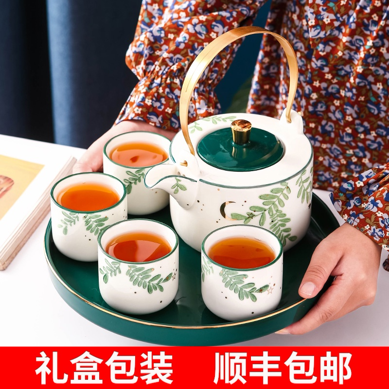 Nordic tea set set ceramic family living room simple cup with teapot flower teapot set cup English afternoon teacourse