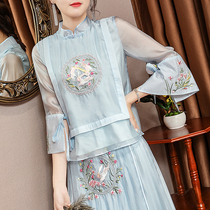 Tang dress girl summer girl cheongsam young Chinese style improved tea dress fairy air loose national style womens top