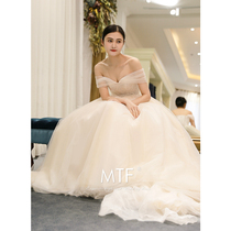 Man Ting Fang the Princess of spring and summer field shoulder Europe and the United States was thin wedding dress
