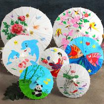 Пустые масляные бумажные зонтики diy материалы для детей ручной работы детский сад китайский ветер живопись зонтики маленькая ручная роспись игрушки