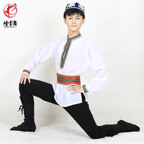 Smoke cloud dance Uighur jacket male adult dance practice clothes Xinjiang dance costumes long-sleeved collar stage costumes