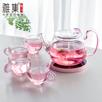 Ya set tea set flower god pot heat-resistant glass teapot teapot flower teapot flower tea set home office insulation cup set