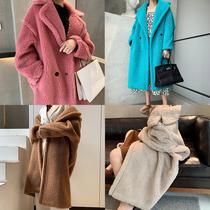 Wood factory custom teddy bear coat fur female medium long wool coat fur one star same model
