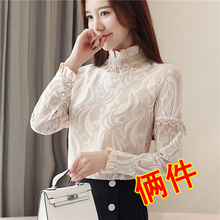 Add a velvet thickened lace bottoming shirt, long sleeves, 2018 autumn winter clothes, new style Korean style, western style warm clothes, small Shirt Jersey.