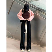 Drawstring lazy straight wide leg pants womens spring and autumn high waisted knitted loose casual pants mopping sports trousers