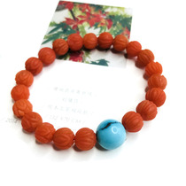 Xiongjia Live Pao Shannan Red agate Carving hand string Buddha beads Necklace 108 Hand string bead pendant Pixiu
