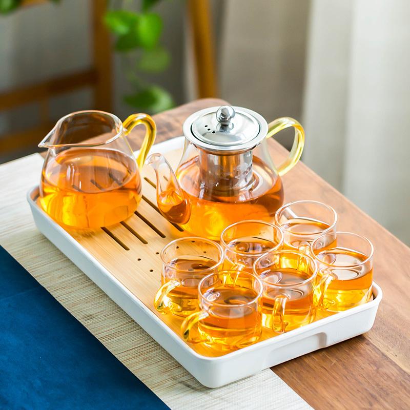 Japanese heat-resistant glass kung fu tea set home simple modern flower teapot filter black tea maker teacout cup