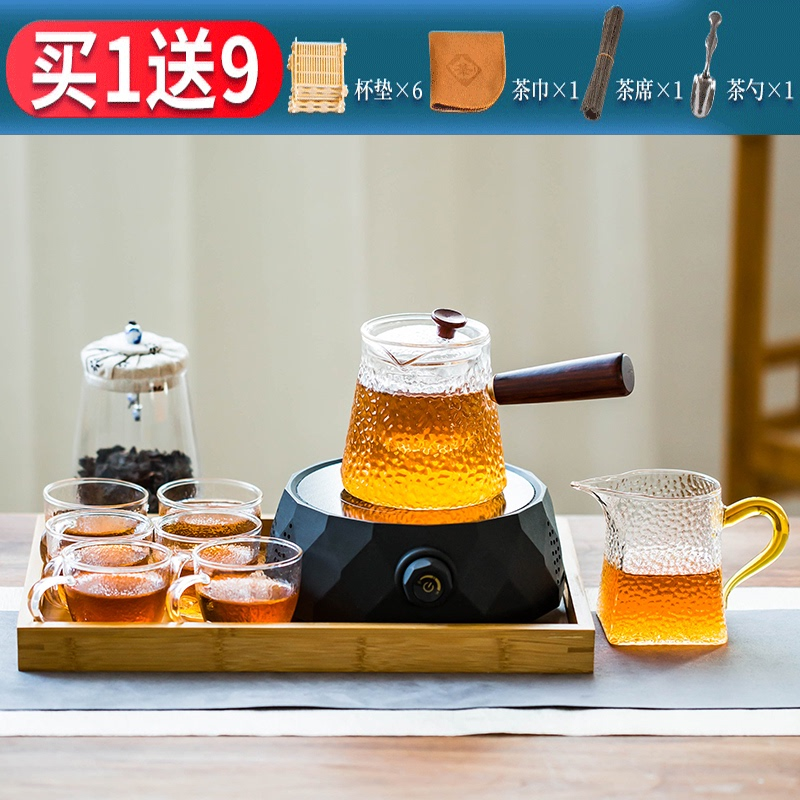 Electric pottery stove brewing teapot glass tea set home filter tea maker resistant to high temperature steamed tea boiling water flower tea single pot