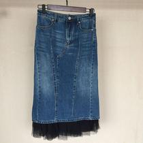 MISS DOLL 2017 AW NET yarn mosaic split bust hip skirts denim long skirt 4090000