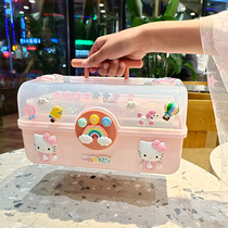 Childrens hair accessories storage box Girl baby dressing and finishing Cute multi-layer leather band head rope headdress jewelry jewelry box