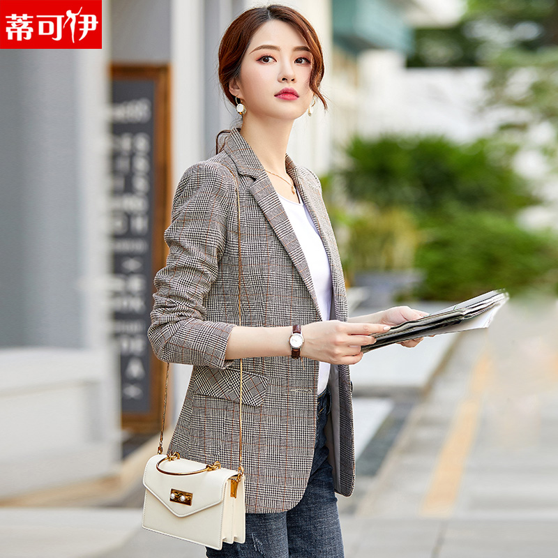 Small suit womens jacket 2020 new plaid casual spring and autumn retro mesh red suit top Korean version of the British wind