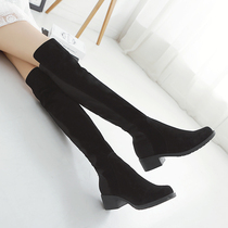 Long boots women sandals stovepipe leather boots elastic boots Gaotong boots autumn and winter knee boots 5050 knee boots women