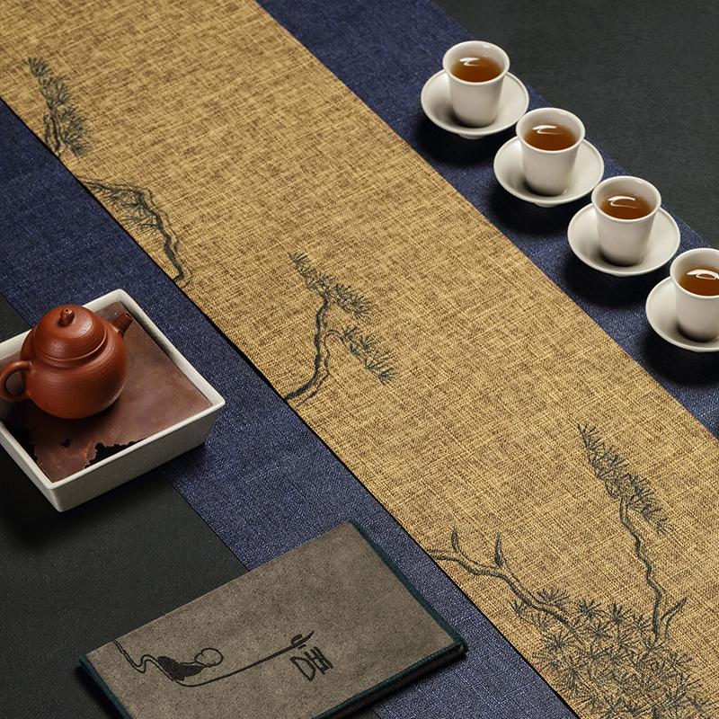 Zheming hand-painted Japanese tea table flag Zen waterproof tea mat cotton Zen art tea ceremony linen tea table cloth mat