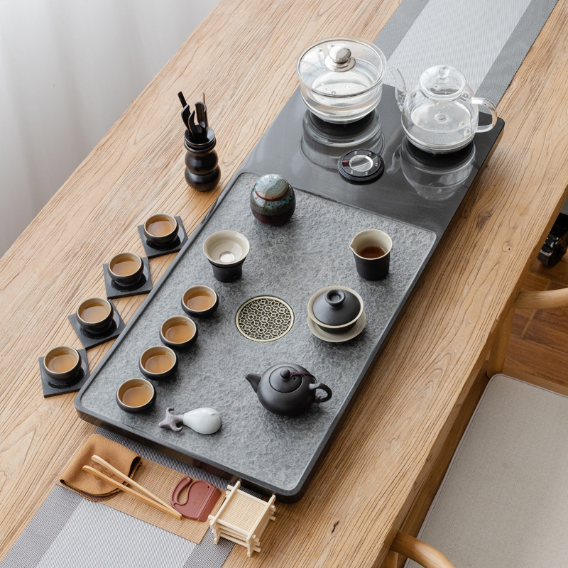 Wujin stone tea plate set fully automatic all-in-one tea table kettle induction cooker kung fu tea set home stone large