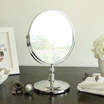 Makeup mirror European stainless steel modern simple desktop double-sided scalable bedroom creative large makeup mirror