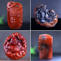 Natural South red water drop pendant necklace Female carved beads Pingan buckle accessories Original mine persimmon red flame pattern carving pieces