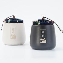 Simple ceramic tea can LOGO custom sealed storage tea can gift tea packaging box empty gift box storage tank