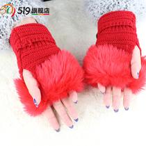 519 can aisu lady imitation Rabbit hair thickening winter warm gloves wool half finger gloves