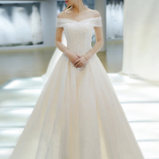 2017 new winter light wedding dress the bride long tailed Korean court Europe shoulder female simple word