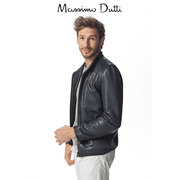 Massimo Dutti Mens Blue nappa leather jacket 03303203400 sheep