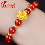 Valentine's Day gift gold bracelet female 3D hard gold jewelry gold transport rose Passepartout bracelet to send his girlfriend