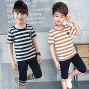 Boys short sleeved suit children's clothing 2017 children's new baby in the summer, the children's leisure Korean version of the two sets of tide