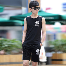 Summer new sleeveless T-shirt suit young students running suits vest suit Korean fitness clothes sportswear