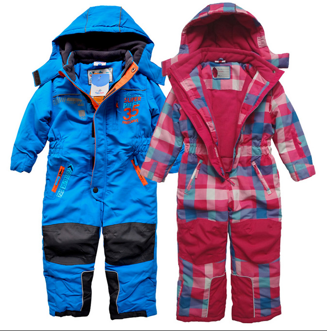 Children German Boys and Girls Conjoined Skiing Suit Wind-proof, Waterproof, Thickening and Warm-keeping, Fleece-jacketed Cotton Charge Clothing in Winter