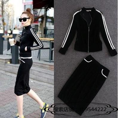 Hong Kong womens early spring new Korean version black gold velvet skirt suit fashion casual sports two-piece set tide