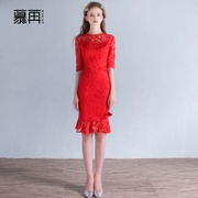 2017 new bride wedding dress dress cheongsam toast huimen female bridesmaid dresses short red dress in spring