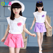 2017 New Girls Summer Summer T-shirt suit Chinese children wear short sleeved girl children leisure two piece