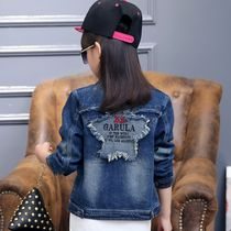 7 Jersey 8 910 loose fat girls 13 years old with spring and autumn pure cotton denim jacket for children 5 children 6 ordinary coat