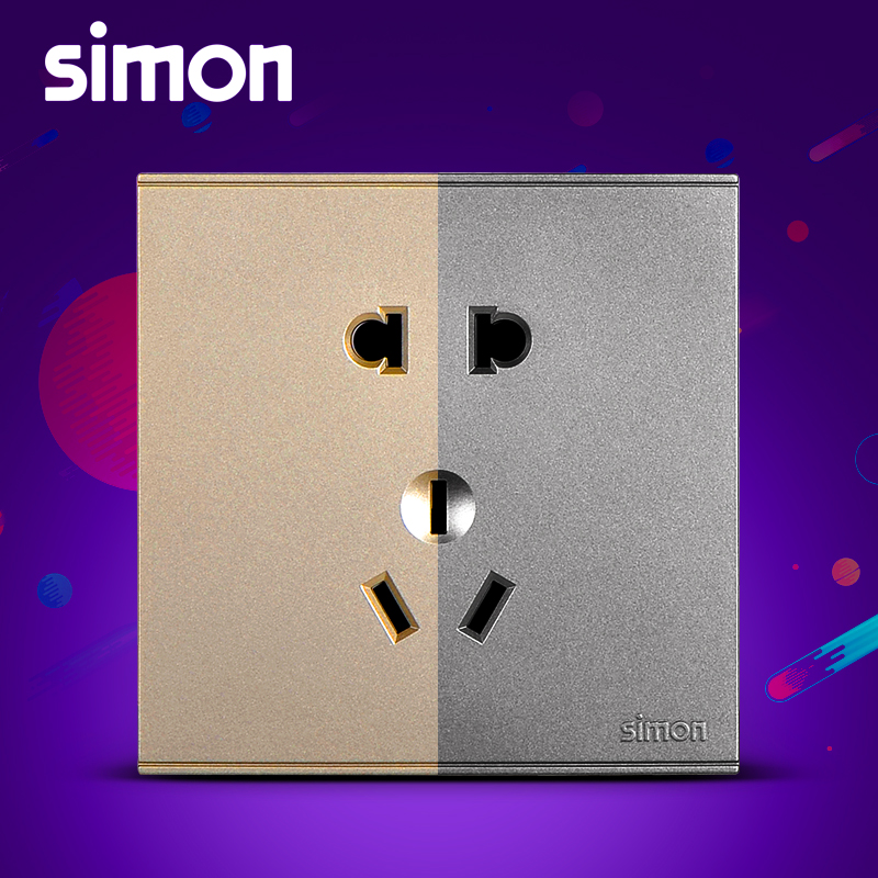 Simon E6 champagne gold switch socket panel 23 three-hole five-hole wall outlet switch panel gray