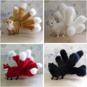 Nine Tailed Fox Fur really dedicated to feng shui ornaments black red fox Vulpes fox fairy worship white simulation