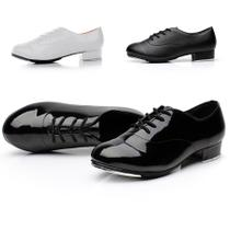 Tap shoes black and white two-color male and female adult tap dance shoes thick heel strap bright leather tap shoes