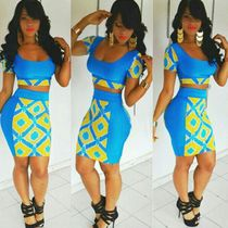 Sexy nightclub ladies blue two-piece sexy dres