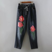 B60-55202 (7013) FMP Europe abstract rose printed DrawString elastic waist jeans women
