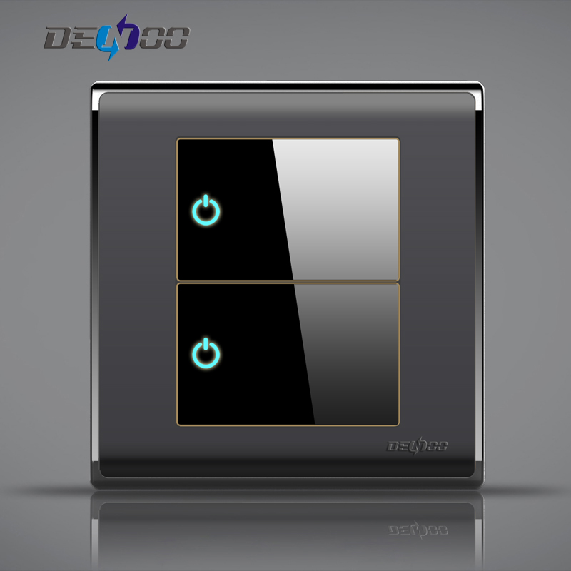 Dan Yi switch socket panel single control two open any point switch with LED night display switch agate black
