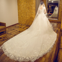 Europe and the United States long trailing one word shoulder luxury princess show thin wedding dress