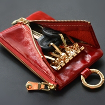 card bag change multi-functional leather key case lady mini large-capacity zipper leather small key bag