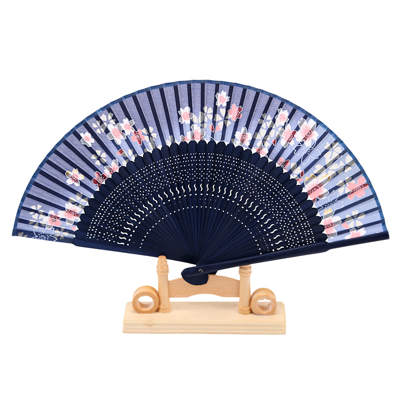 Searching for Brocades of Classical Creative Gifts with Chinese Characteristics Lady Bamboo Handle Silk Flower Folding Fan Spray Painting Technology Fan D