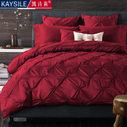 European wine red satin wedding four piece bedding cotton bedding set of more than and 6 simple American Wedding