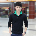 Men's cotton long-sleeved T-shirt Korean Slim collar collar collar POLO shirt male tide LG1039 P30